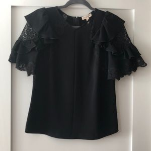 Rebecca Taylor short sleeve lace and ruffle top 6